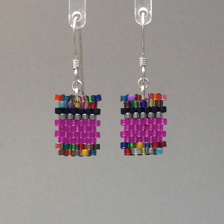 Short Confetti Hot Pink Earring