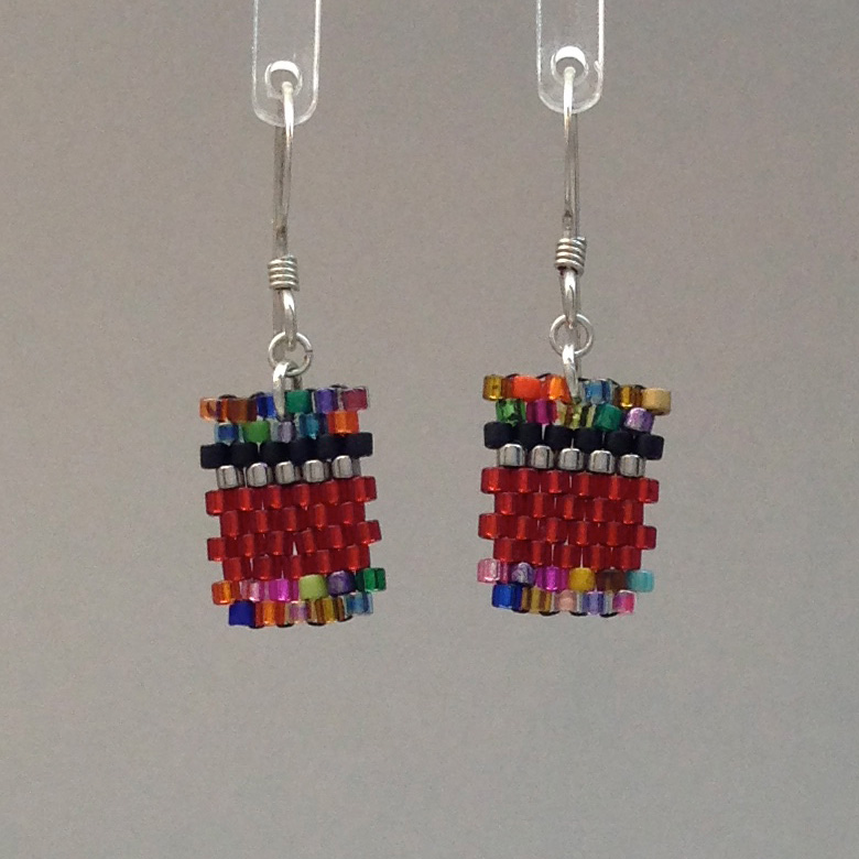 Short Confetti Red Earring